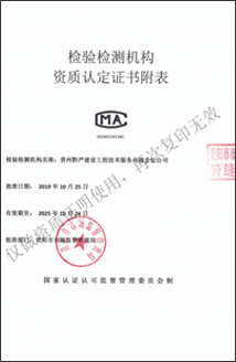 资质认定证书附表